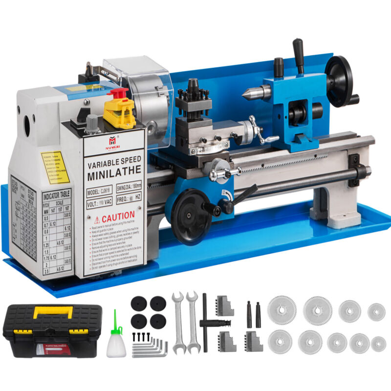 "7"" x 14"" Mini Metal Lathe 550W Precision Variable Speed 2250 RPM 0.75HP"