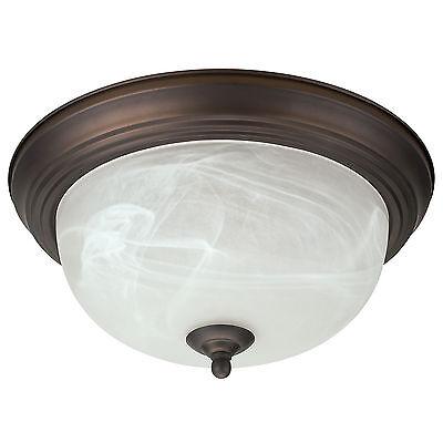 "Oil Rubbed Bronze Flush Mount Ceiling Light Fixture 13"" Alabaster Glass Shade"
