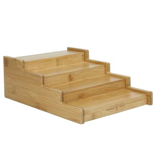 4 Tier Bamboo Spice Rack Expandable Cupboard Shelf Organiser