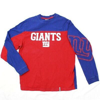 Vtg Reebok Langärmeliges T-Shirt Erwachsene Mittelgröße Farbblock Ny Giants