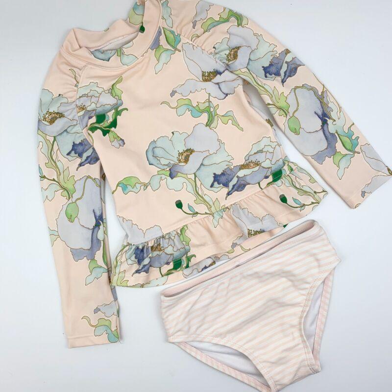 Janie And Jack 2 Pc. Long Sleeve Floral Rash Guard Bathing Suit sz 18-24 months