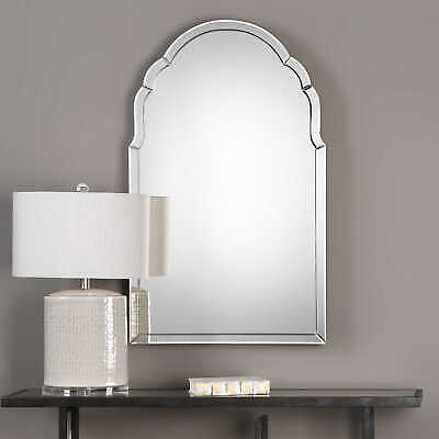 Frameless Venetian Arch Wall Mirror Curved Beveled Glass
