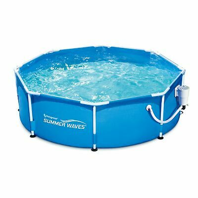 Summer Waves 8ft x 30in Round Frame Above Ground Outdoor Swimming Pool with Pump