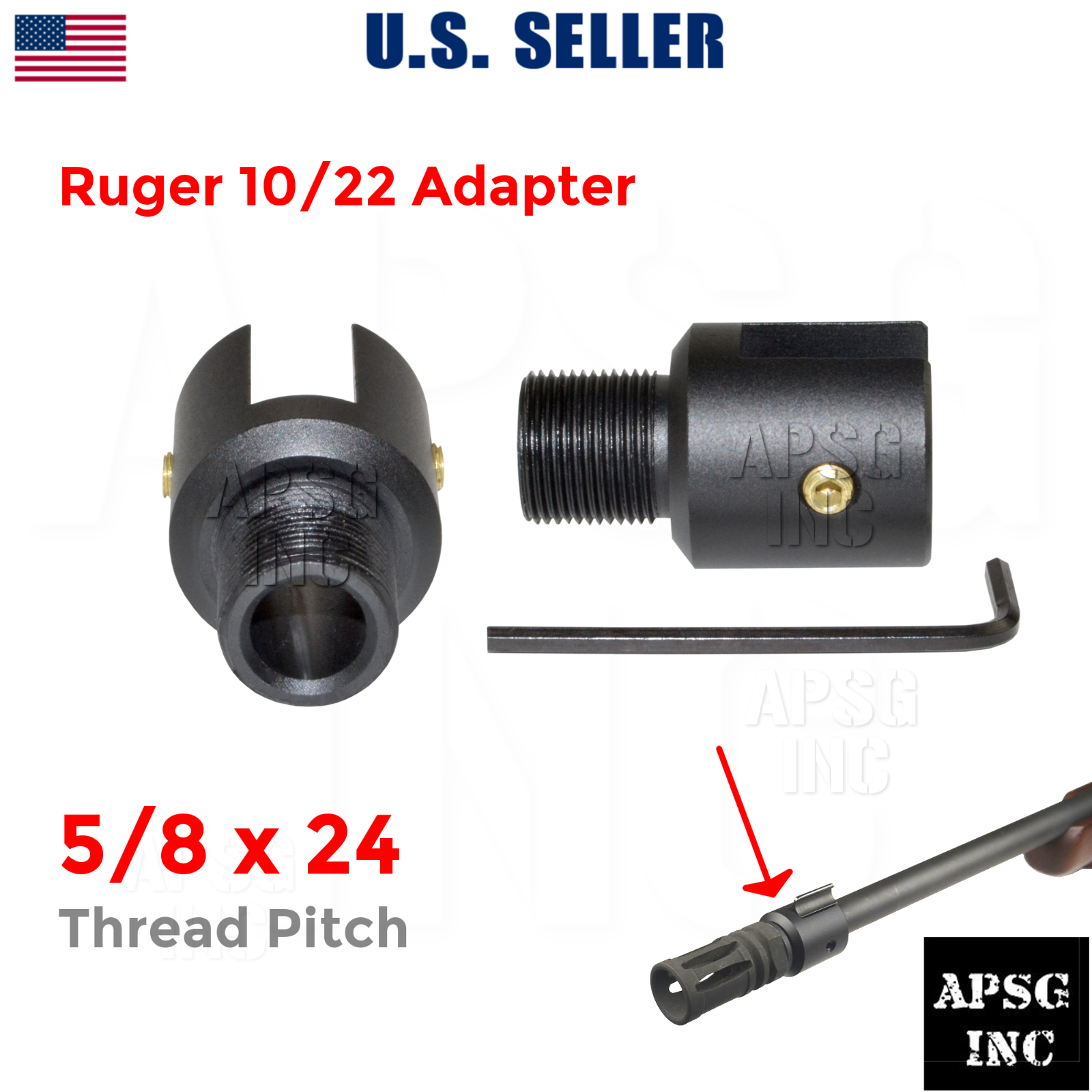 U.S SELLER Aluminum Ruger 1022 10-22 Muzzle Brake Adapter 1//2-28 Thread