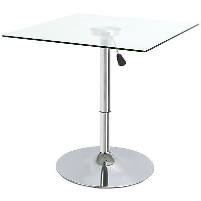 SQUARE ADJUSTABLE CLEAR GLASS BISTRO/DINING TABLE /CAFE TALL/HIGH BREAKFAST BAR