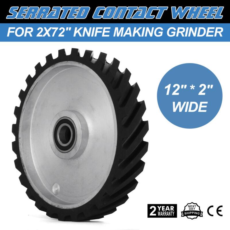 """12"""" Belt Grinder Serrated Contact Rubber Wheel for 2"""" x 82"""" Knife Making Grinder"""