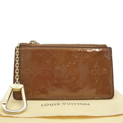 Auth LOUIS VUITTON Pochette Cles Key Pouch Brown Vernis Leather M91206 #S203082