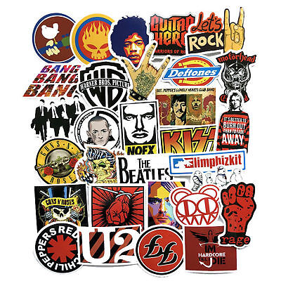 52Pcs Vinyl AC/DC Rock Band Stickers Luggage Stickers Car Wall PC Bike Decals