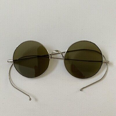 Antique Willson Lennon Style Round Green Lens Wire Frame Sunglasses Steampunk