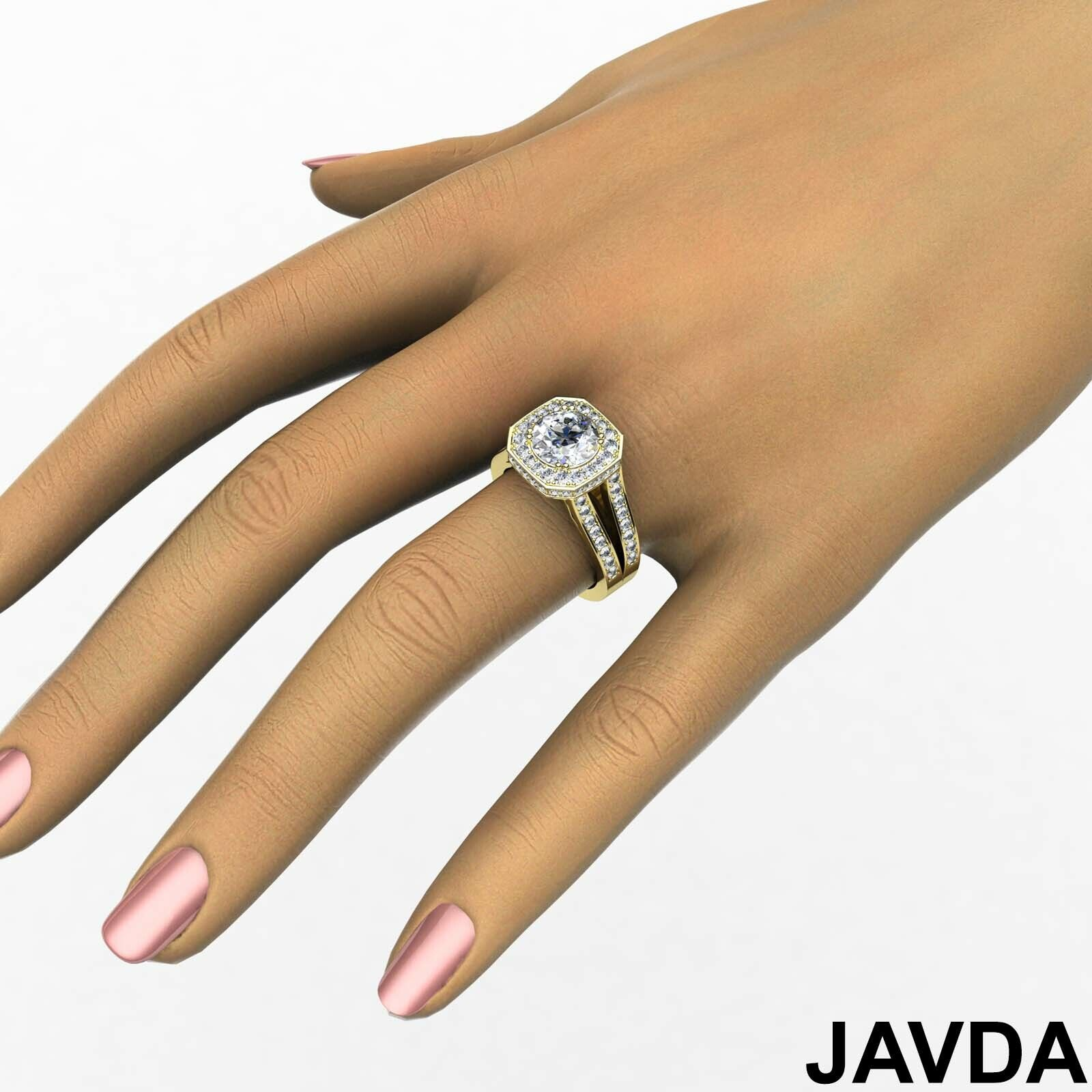 Hexagon Halo Split Shank Round Diamond Engagement Ring GIA F VS1 Clarity 2.84Ct 10