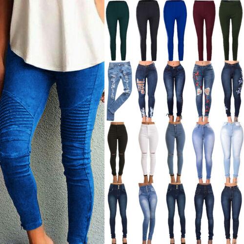 Damen Mode High Waist Stretch Hose Slim Röhre Skinny Leggings Röhrenjeans Gr.48