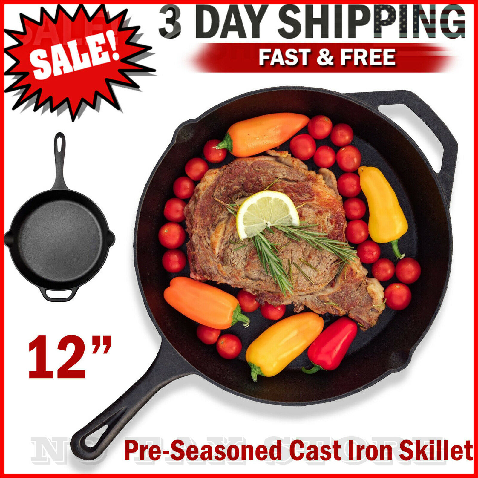 "Cast iron skillet 12"" Pre Seasoned Frying Cookware Pot Oven"