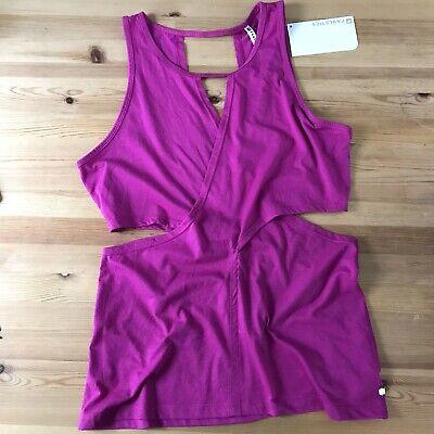 Fabletics Women's L NWT Janel Tank Top Purple Open Cutout Side Workout Shirt A5