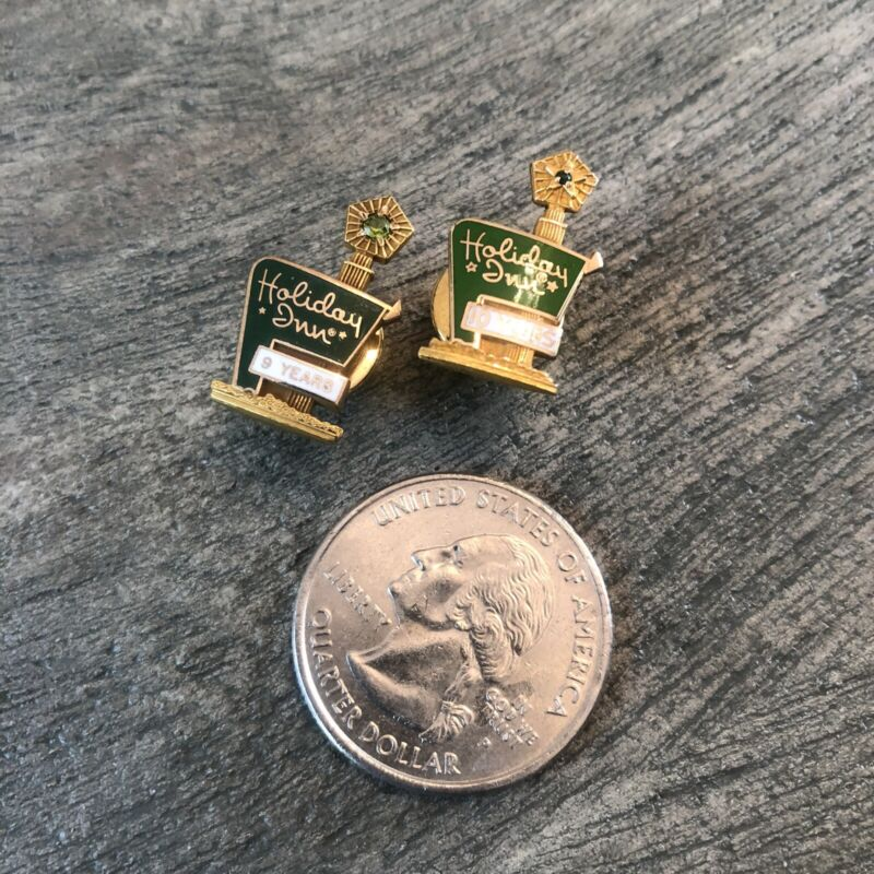 Set of 2 Vintage Holiday Inn Employee Pins (9 & 10 Year)