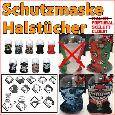 Schlauchtücher - Mund Nasenschutz Schutzmaske - Portugal - Skelett - Clown