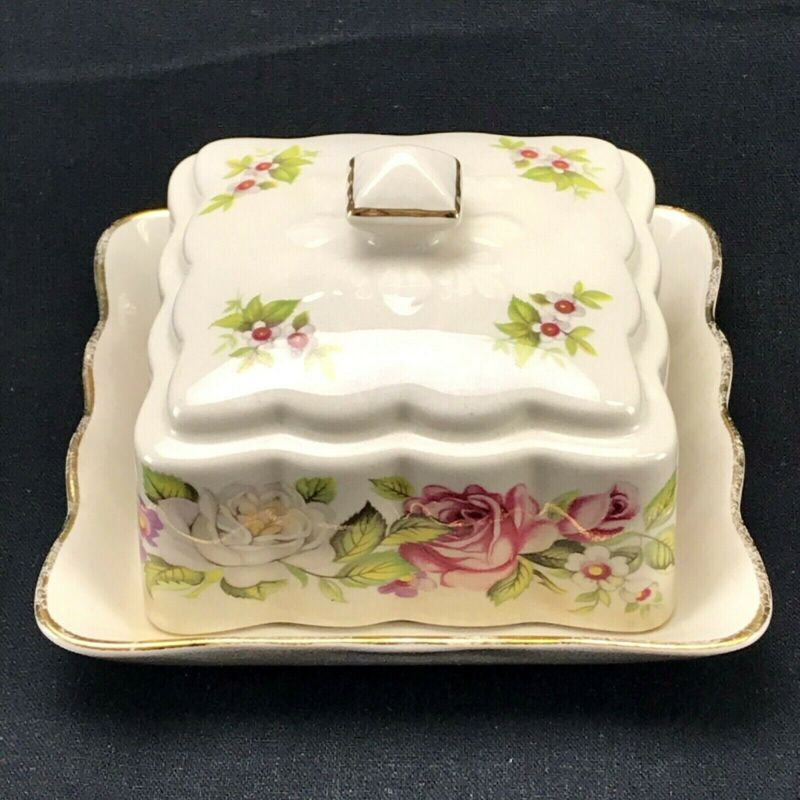 James Kent Old Foley (Granville) HARMONY ROSE  Covered Butter Dish