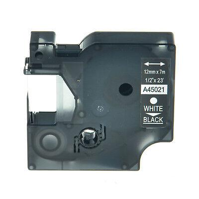 1pk 45021 White On Black Label Tape Cassette For Dymo D1 Labelmanager 200 12