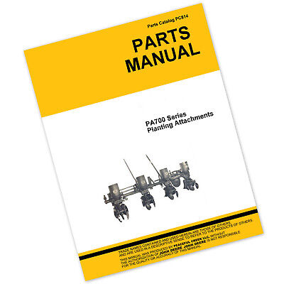 Parts Manual For John Deere Pa700 Series Planter Drill Catalog Seed Grain