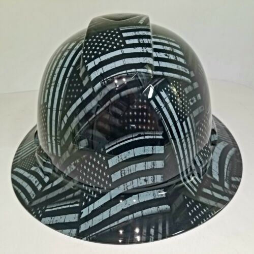 NEW FULL BRIM Hard Hat custom hydro dipped AMERICAN FLAG BLACK OPS RECON EDITION