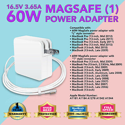 """60W L-tip Power Supply Charger Cord for Apple MacBook 13"""" 13.3"""" inch A1184 A1278"""