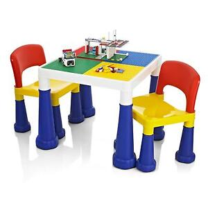 Childrens/Kids Lego/Duplo Building Activity Play Colouring Table & Chairs Set