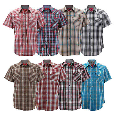 Rodeo Clothing Men's Western Pearl Snap Button Up Short Sleeve Plaid Dress (Western Plaid Button)