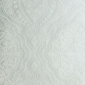 Textured paintable wallpaper damask pattern 10m Roll