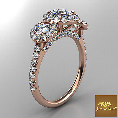 Halo 3 Stone Micro Pave Round Diamond  Engagement Ring GIA D VS2 Clarity 1.50Ct 10