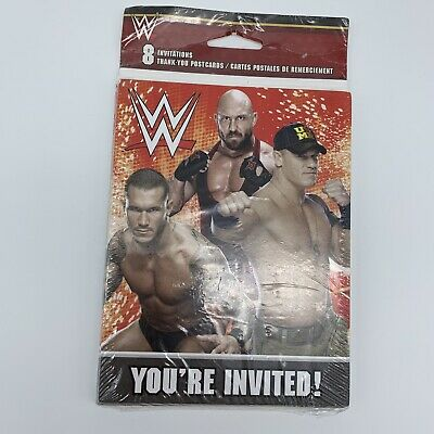 WWE WRESTLING INVITATIONS (8) Birthday Party Supplies Stationery Cards New