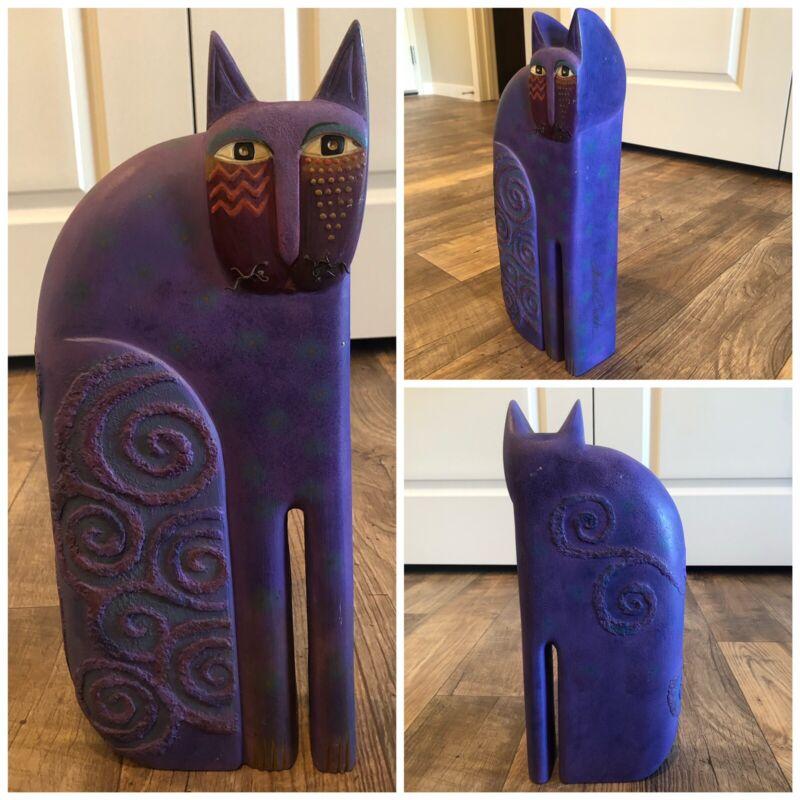 "Laurel Burch 1999 Santa Fe Feline Cat Large 15.5"" Purple Blue Wood Statue"