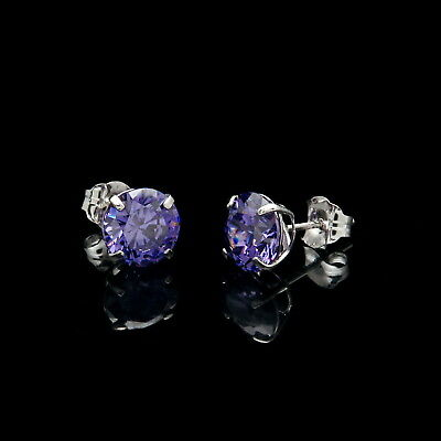 1CT Created Purple Amethyst Earrings 14K Real White Gold Round Solitaire Studs 1 Ct Amethyst Solitaire