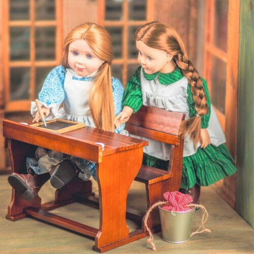 """Little House School Desk Furniture & Accessories Fit Two 18"""" American Girl Dolls"""