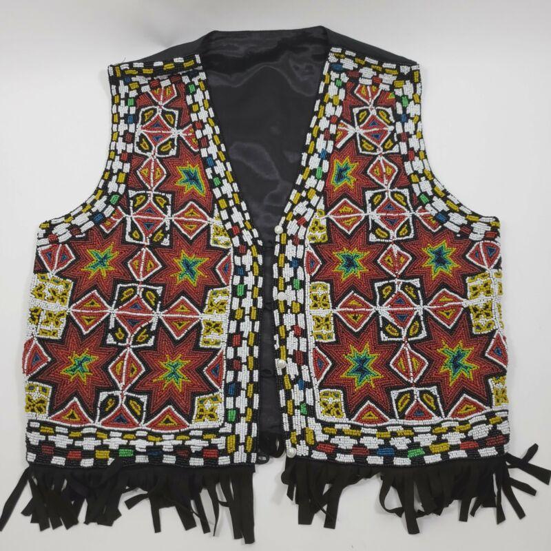 Vintage Native American Hand Beaded Seed Bead Vest w Fringe