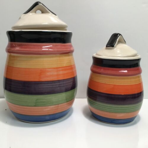 2 Philippe Richard RONDO Pottery Stripe Rainbow Colors Canister Hand Painted