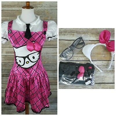 Hello Kitty Pink 5pc Costume Dress Juniors MEDIUM 7-9 Halloween Cosplay ()