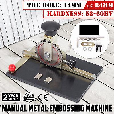 Manual Embossing Machine Metal Plate Stamping Embosser Deboss Dog Tag Printer Us