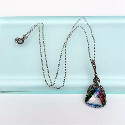 Vintage Art Deco Iris Glass, Marcasite & .830 Silver Pendant Necklace