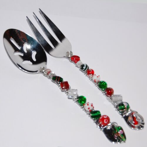 Stunning Christmas Hand Crafted Beaded Stainless Serving Spoon & Fork  Red Green