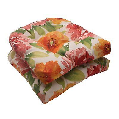 Pillow Perfect Outdoor/ Indoor Primro Orange Wicker Seat Cus