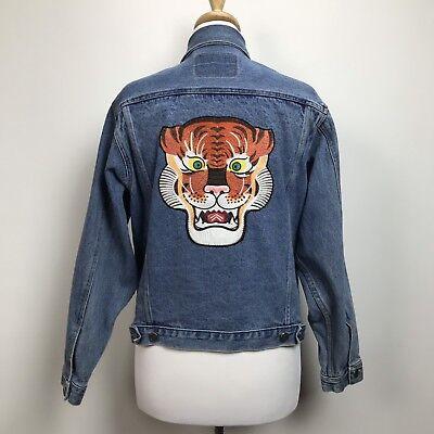 Arizona Jeans Vintage 90s Denim Jacket Womens M/L Tiger Back Patch Oversized Arizona Denim Jacket
