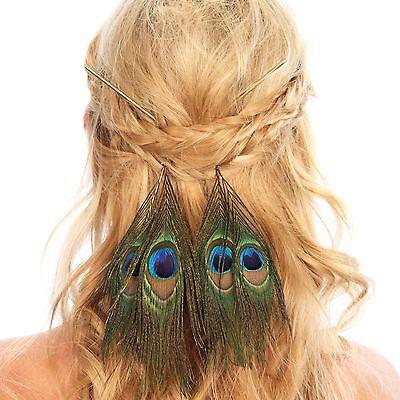 Peacock Feather Hair Sticks Pin Festival Hair Accessories Headband Headpiece](Festival Accessories)