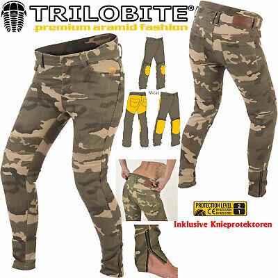 TRILOBITE Jeans MICAS URBAN DAMEN Motorrad Hose camouflage inkl. Knieprotektoren