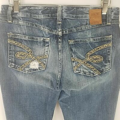 Bke Buckle Women 26  Long Jeans Element Flare Distressed Denim Light Wash