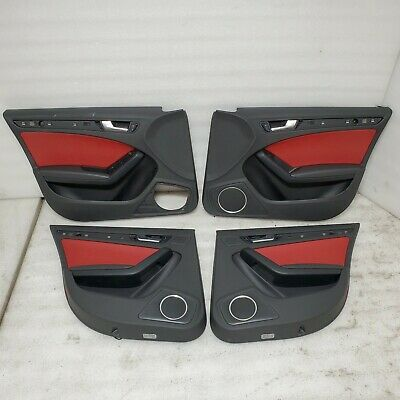 2010 AUDI S4 B8 INTERIOR FRONT REAR RED LEATHER DOOR PANEL SPORT PACKAGE KIT OEM Door Panel Package