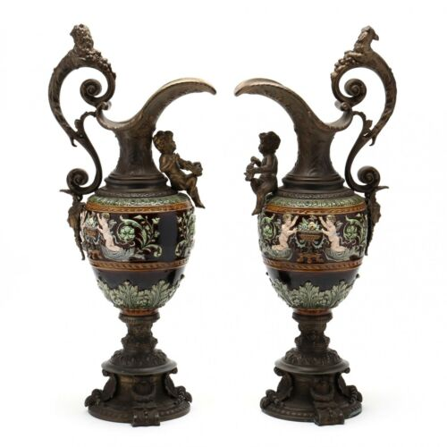 Antique Urns, An Impressive Pair of Ormolu Mounted Majolica Urns, 19th century (