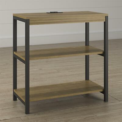 Kayden 3 Shelf Bookcase, Golden Oak Metal Oak Bookcase