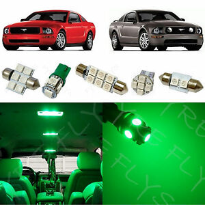 5x Green Led Lights Interior Package Kit For 2005 2009