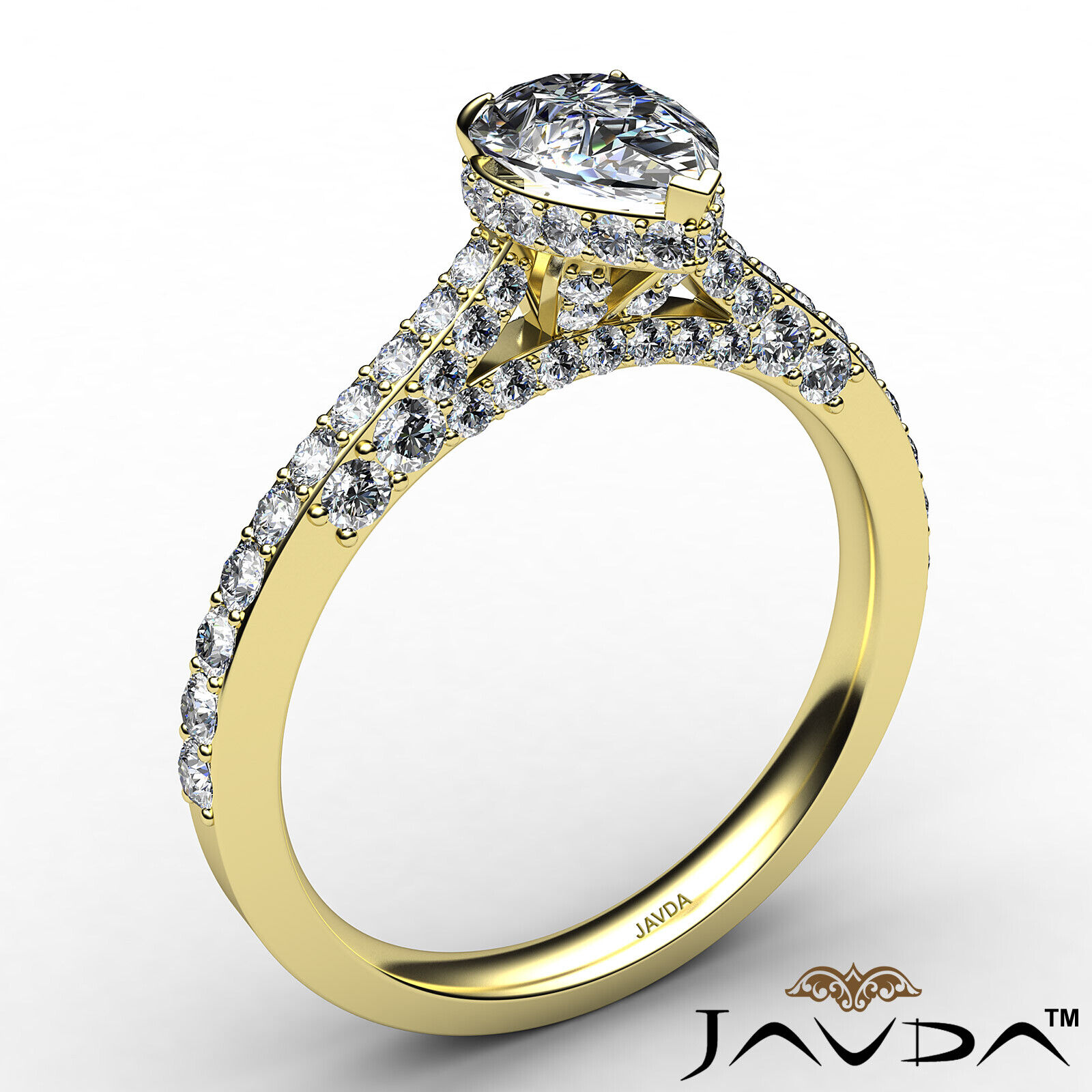 Pear Diamond Engagement Pave Ring GIA Certified H Color & VS2 clarity 1.06 ctw 4