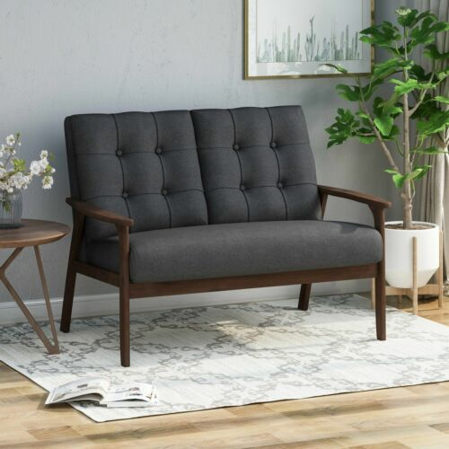 Samulle Mid Century Waffle Stitch Tufted Accent Loveseat with Rubberwood Legs – Furniture