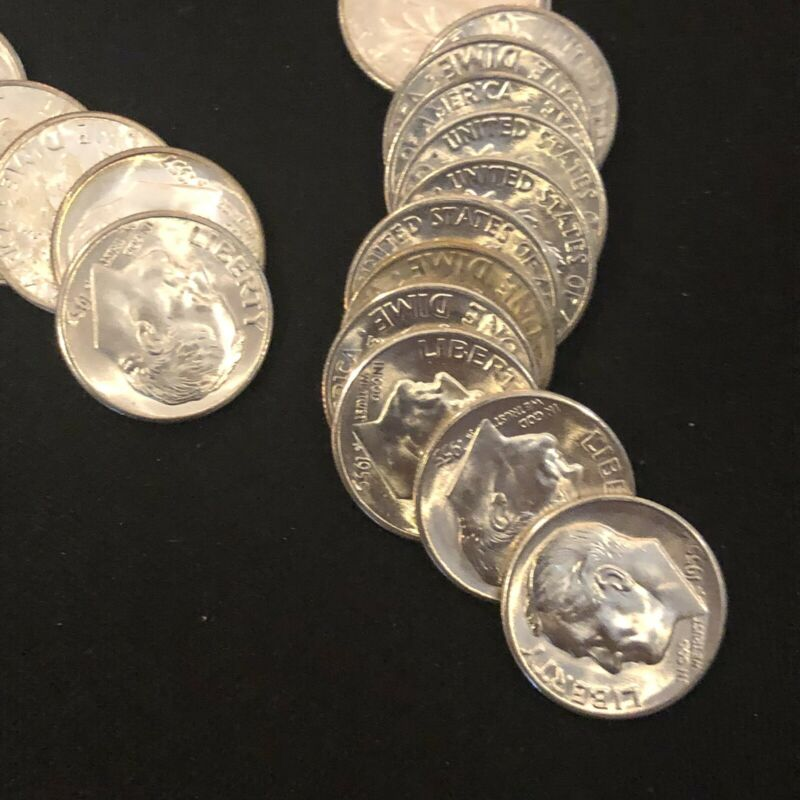 BU Partial Roll1955-S Roosevelt Dimes, short roll of 28 Coins, BU condition